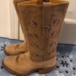 FRYE COWBOY BOOT, tan leather size 7
